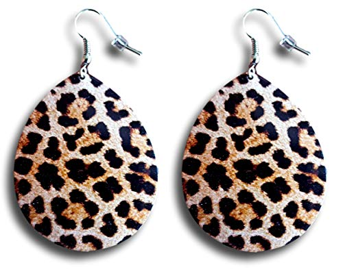 Retro Look 80's Metal Sheet Drop Leopard Print Circle Earrings