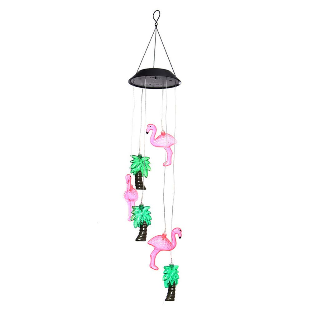 Color-Changing Solar Light,Romantic LED Wind Chime Lights,Outdoor Waterproof Patio Decorative Lights Mobile Coconut Flamingo Chandelier Lighting for Home,Party,Festival Decor,Night Garden