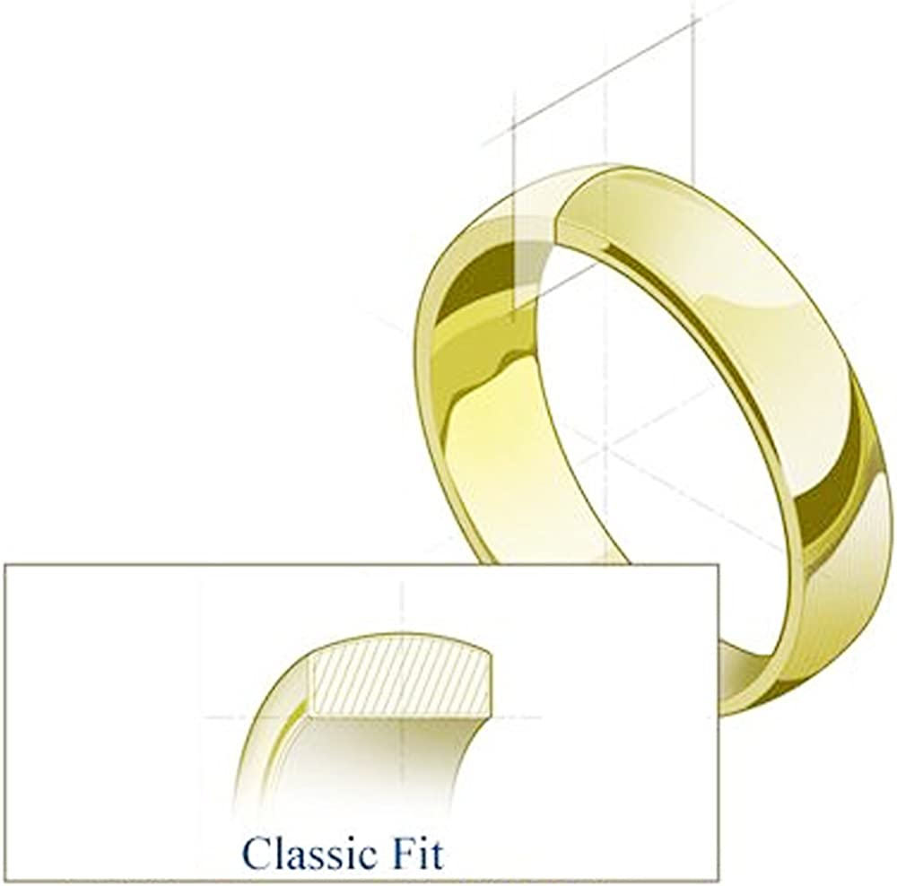 White Gold Solid 8mm CLASSIC FIT Wedding Band Ring OR Wellingsale Mens 14k Yellow