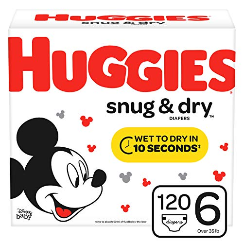 HUGGIES Snug & Dry Baby Diapers, Size 6 (fits 35+ lbs.), 120 Count, Mega Colossal Pack (Packaging May Vary)