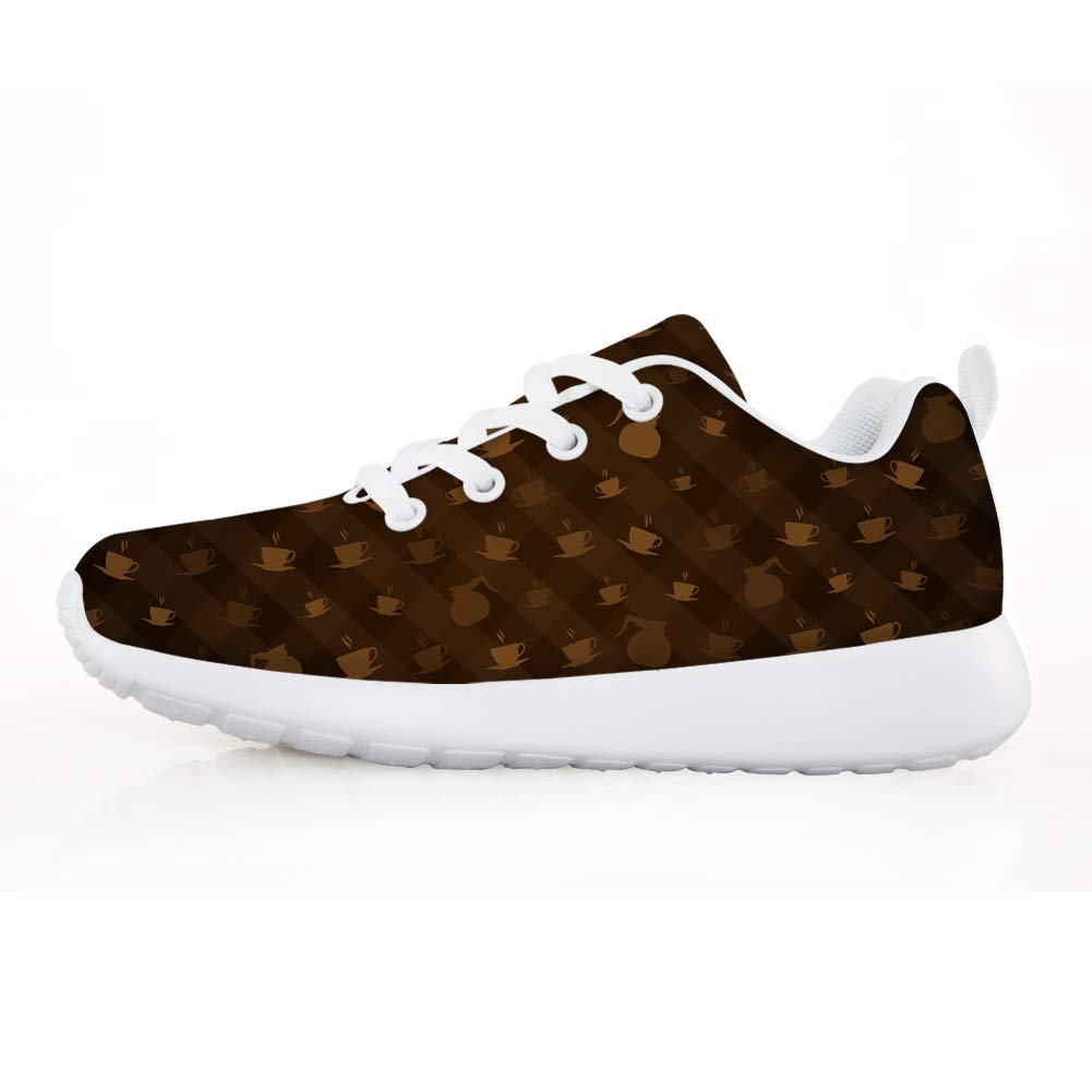 Owaheson Boys Girls Casual Lace-up Sneakers Running Shoes Brown Coffee Plaited Pattern
