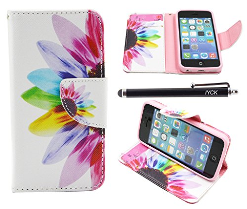 iPhone 5C Case, iPhone 5C Case Wallet, iYCK Premium PU Leather Flip Carrying Magnetic Closure Protective Shell Wallet Case Cover for iPhone 5C with Kickstand Stand - Colorful Flower