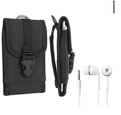 bolsa del cinturón / funda para Nokia 1, negro + Auriculares   caja del teléfono cubierta protectora bolso - K-S-Trade (TM)