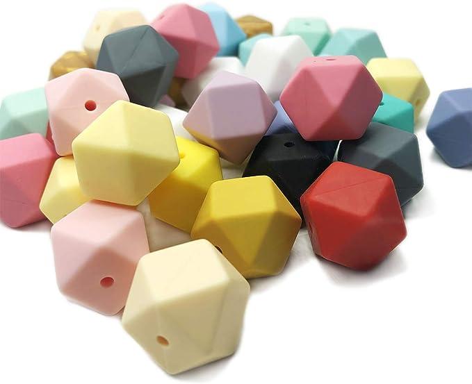 Silicone Hexagon Beads DIY Hexagon Perles 17mm 50pc Silicone Perles Sensorielles pour anneau de dentition