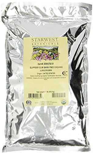 Starwest Botanicals Organic Slippery Elm Bark Powder, 1 lb Bag by Starwest Botanicals