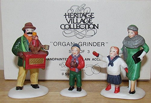 Department 56 Heritage Village Collection ; Christmas in the City ; Organ Grinder with Monkey Set of 3 ; Handpainted Porcelain Accessories #59579