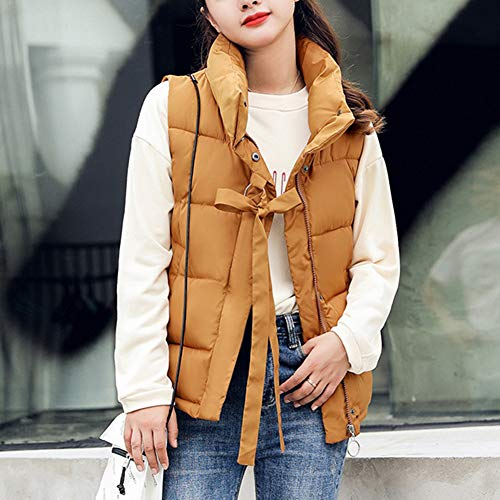 Padded Jacket Sleeveless Zip Vest Women's Warm Gilet Stand Quilted Up Puffer Collar Camel q4IIPtnf