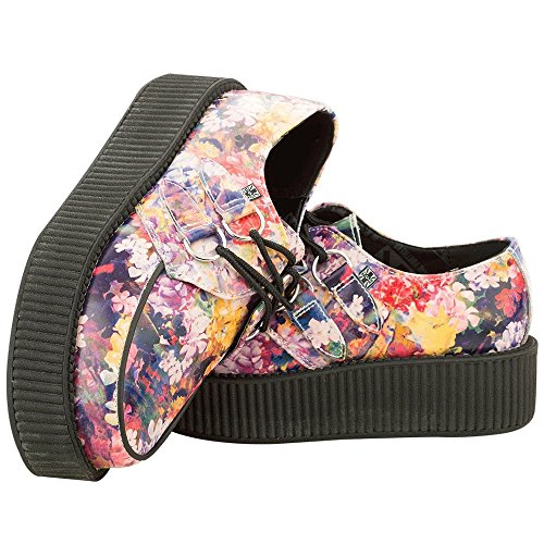 T.U.K. Shoes Womens Floral Leather Viva Creeper Multi Colour