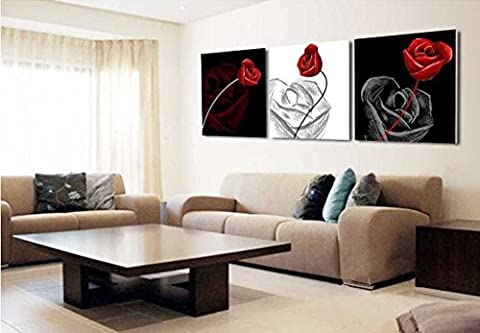 Mon Kunst Black White Red Rose 3 Pieces Canvas of Art Wall Canvas Artwork 40*40cm (Stretched and Framed) Ready to (Red And Black Canvas Art)