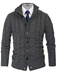 PAUL JONES Men's Stylish Stand Collar Cable Knitted Button Cardigan Sweater