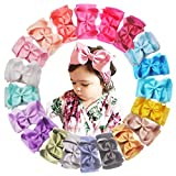 20 Colors Baby Girls Soft Elastic Nylon Headbands 6 inches Grosgrain Ribbon Hair Bows Stretchy Head Wraps for Infants Toddlers Newborns (Color: Multi-colored, Tamaño: 6 Inch)