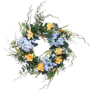 "Red Co. 16"" Purple Yellow Hydrangeas, Artificial Spring & Summer Wreath, Door Backdrop Ornaments, Home Décor Collection 25"