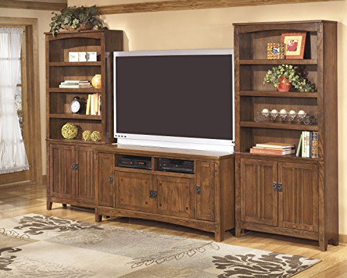 Casoria Casual Wood Medium Brown 3-Piece Door Bookcase with TV Stand Set 3 Piece Set Tv Stand