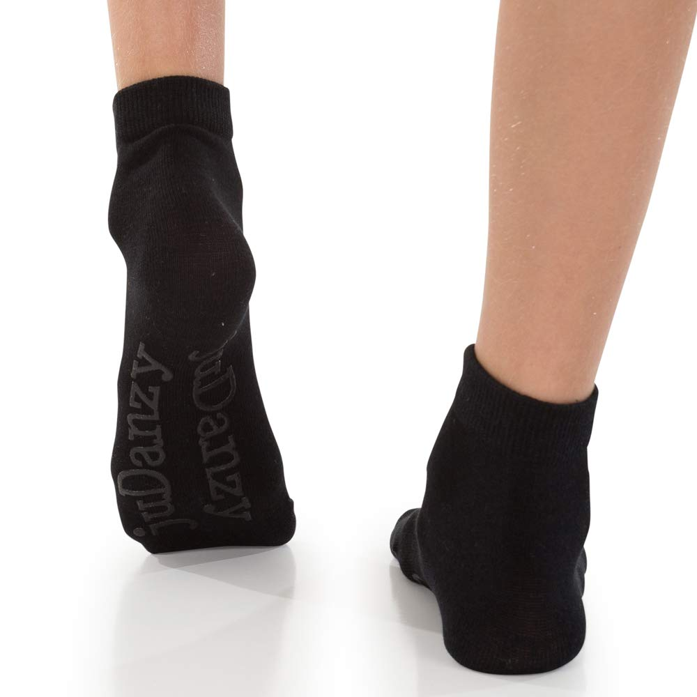 juDanzy 4 Pack Black Ankle Socks Kids Ages 0-8 Years with grips
