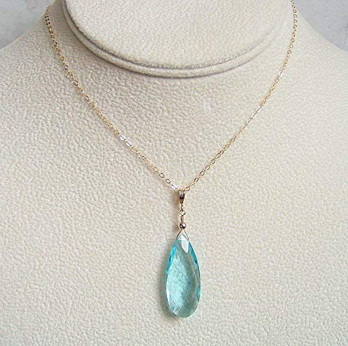 Quartz Pendant Necklace Gold Filled Pear Simulated Swiss Blue Topaz December Birthstone Gift Idea 20 Inch