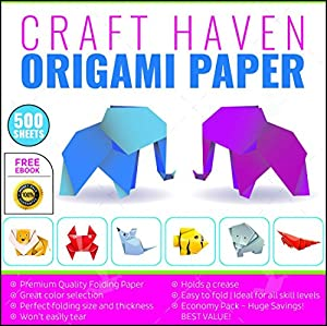 Craft Haven 6-Inch-by-6-Inch Origami Paper with Double and Single Sided Sheets, 25 Colors and E-book Tutorial, Large (500-Pack)