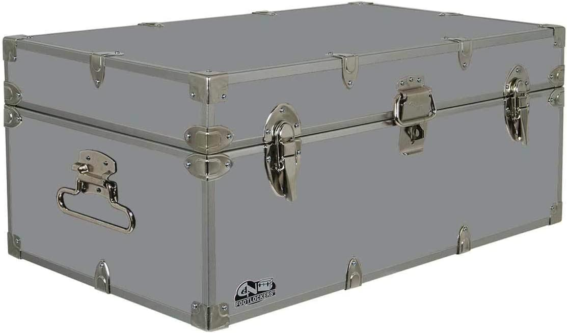 C N Footlockers Summer Camp Trunk Footlocker Happy Camper Available in 20 Colors Size 32 x 18 x 13.5 Inches Gray