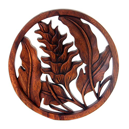NOVICA Decorative Suar Wood Relief Panel, Brown, 'Proud Heliconia' (Bali Wood Art)
