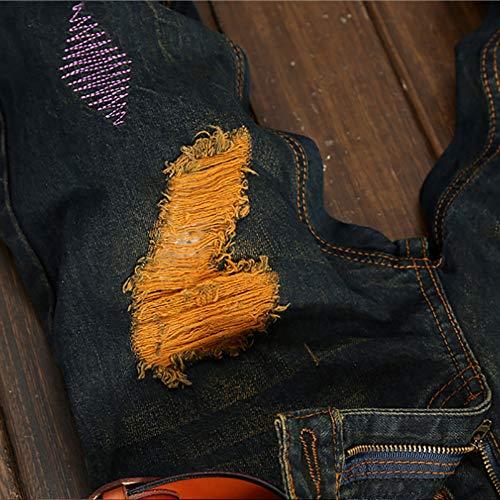 Casuales Vaqueros EU 31 de Vintage Liquidación básicos Azul impresión de 32 los Cebbay Pantalones Size Tag Pantalones Pantalones Hoyos Pantalones Deportivos Hombres Urbano de Viento Cremallera a15wqn8Cxg