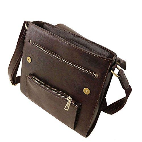 hombre TL141656 al Cuero Leather marrón para hombro Marrón de Tuscany Bolso compact w8Axt51