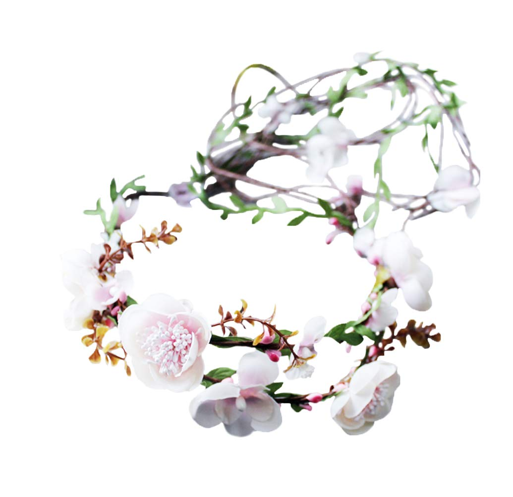 Vivivalue Handmade Boho Flower Crown Hair Wreath Halo Floral Garland Headband Headpiece with Ribbon Festival Wedding Pink