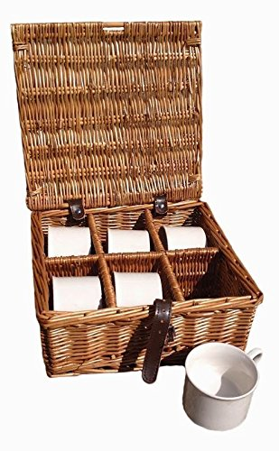 Drinks Basket 6 Cup Hamper in Dark Leather by Red Hamper