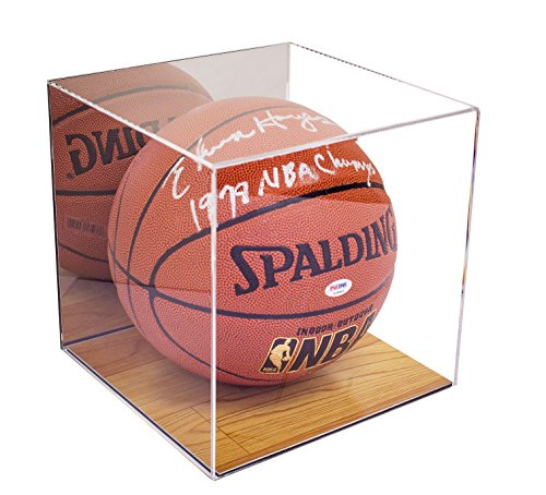 Deluxe Acrylic Basketball Display Case with Simulated Wood Floor and Mirror (A008-MWB)