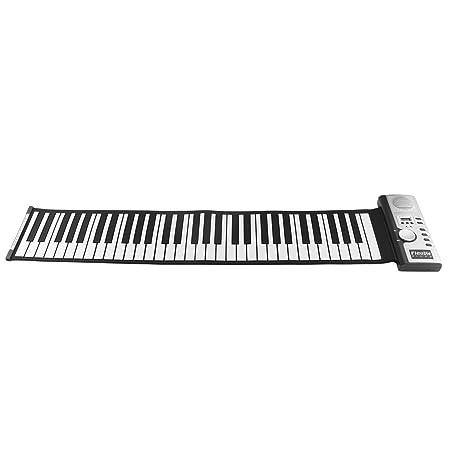Ballylelly 61 Teclas 128 Tonos enrollables Teclado de Piano electrónico Teclado Digital portátil Piano Instrumento Musical Recargable Flexible: Amazon.es: ...