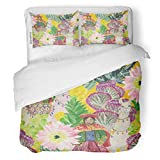 SanChic Duvet Cover Set Mexico Watercolor Painting Llamas Woman from Peru Cacti Alpaca America Decorative Bedding Set 2 Pillow Shams King Size