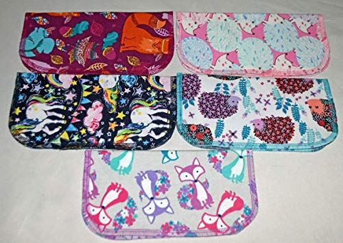 (2 Ply Printed Flannel 8x8 Inches Set of 5 Little Wipes Whimsical Animals)
