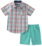 Kids Headquarters Toddler Boys' 2 Pieces Shirt Shorts Set, Blue/Green/Red, 3T