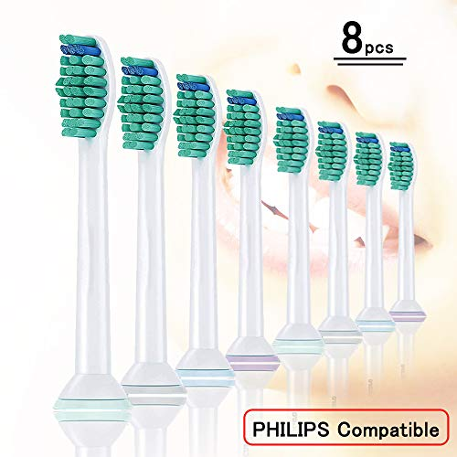 8pcs (2×4) Brush Heads,  HX6014 Replacement Brushes for Philips Sonicare Toothbrush Attachment ProResults, Fits Philips Electric Toothbrushes