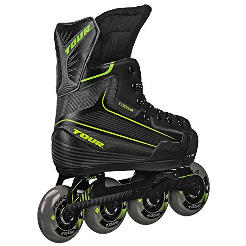 Tour Hockey Code 9 Youth Adjustable Inline Hockey Skate, Black, Medium 1-4 (Renewed)