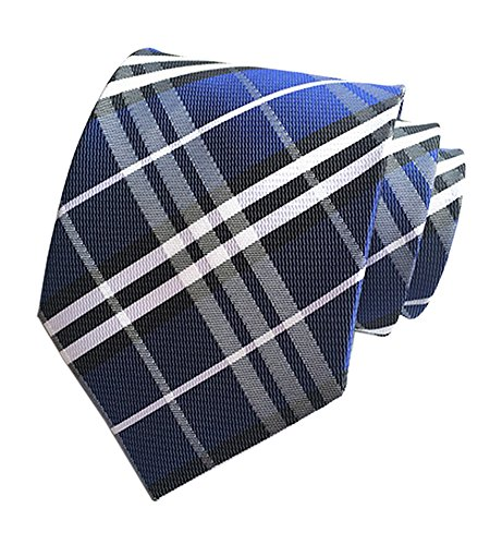 Eeleva New Classic Scottish Tartan/Plaid Silk Ties Wedding Necktie (blue white) - Irish Silk Tie
