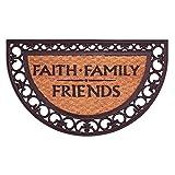 Faith Family Friends Black 18 x 30 Coconut Coir Half Moon Shape Outdoor Doormat