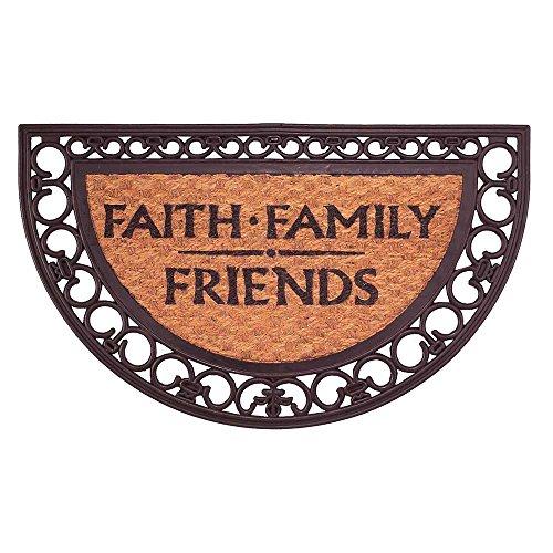 - Faith Family Friends Black 18 x 30 Coconut Coir Half Moon Shape Outdoor Doormat
