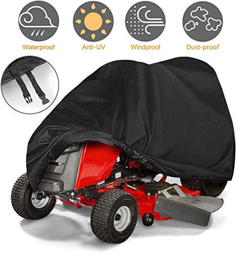 Lawn Mower Cover, Riding Lawn Mower Cover Waterproof Heavy-Duty, UV Protection Universal Fit with Drawstring & Cover Storage Bag