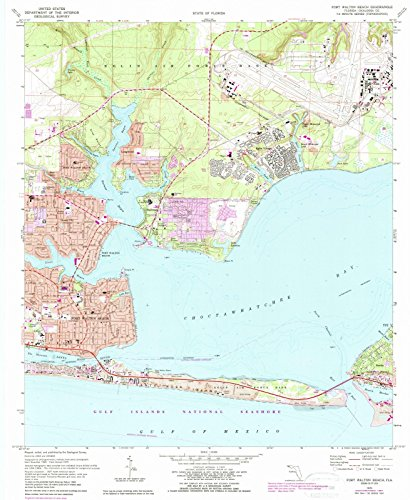 Map Reproductions Historical (Florida Maps |1970 Fort Walton Beach, FL USGS Historical Topographic Map |Fine Art Cartography Reproduction Print)