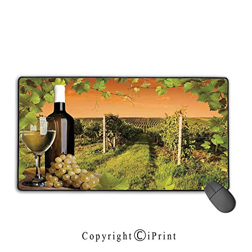 Non-slip rubber base mouse pad,Winery Decor,Bottle and Glass of Wine and the Vineyards of Sunset Countryside Romantic Evening View,Green Orange, Suitable for offices and homes, Mouse pad with lock,9.8 ()