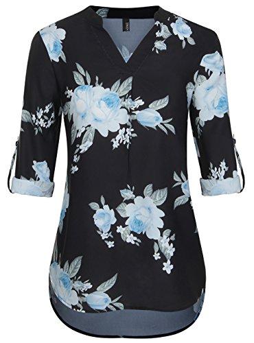 TrendiMax Women Casual Split V Neck Blouse 3/4 Cuffed Sleeve Chiffon Tunic Tops by TrendiMax
