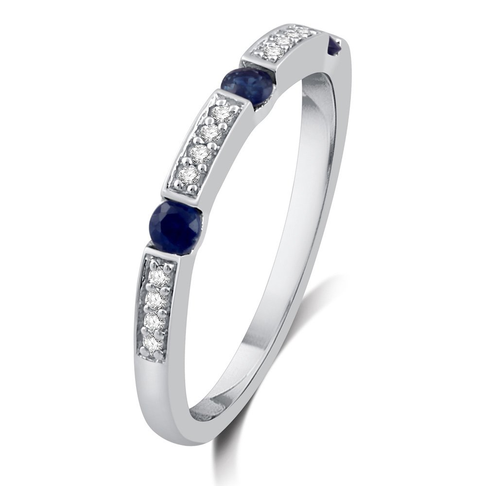 DeCarat 1//10 Carat T.W Diamond Sterling Silver Wedding Band with Sapphire