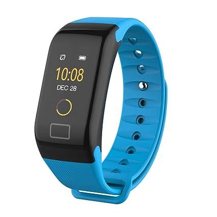 Mamun Smartwatch Pulsera Elegante del Reloj del Monitor del Ritmo cardíaco del oxígeno de la presión Arterial del Color de F1 (Azul)