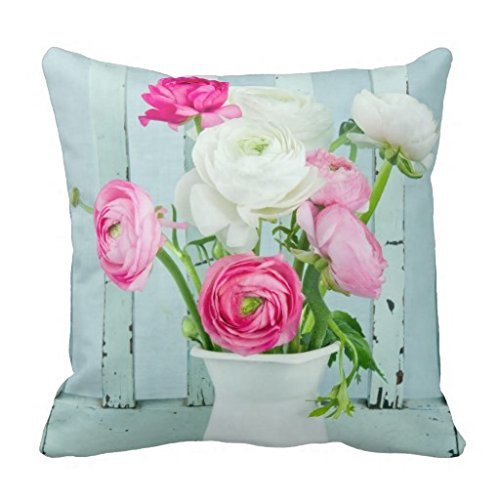 Comi White And Pink Ranunculus Flowers Throw Pillow Covers 18