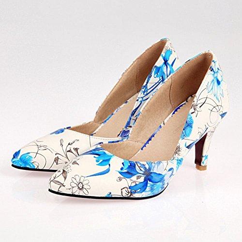 MissSaSa Donna Scarpe col Tacco Gattino Nuovo Primavera-Estate (34, blue)