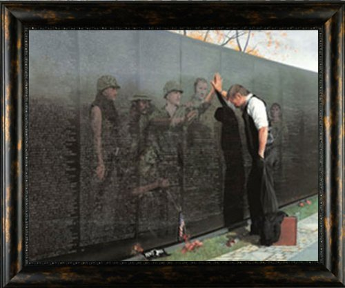 (Picture Peddler Reflections Lee Teter 21x17 Quality Framed Vietnam War Veterans Memorial Wall Conservation Glass)