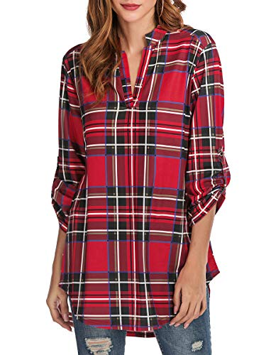 St. Jubileens Women Roll-Up 3/4 Sleeve Plaid Shirt Tunic V Neck Casual Pullover Blouses Tops M Classic Red