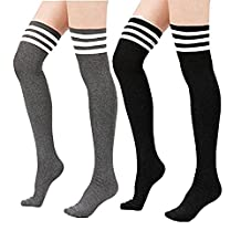 Spring fever Womens Cotton Vertical Stripe Tube Over Knee Thigh High Stockings