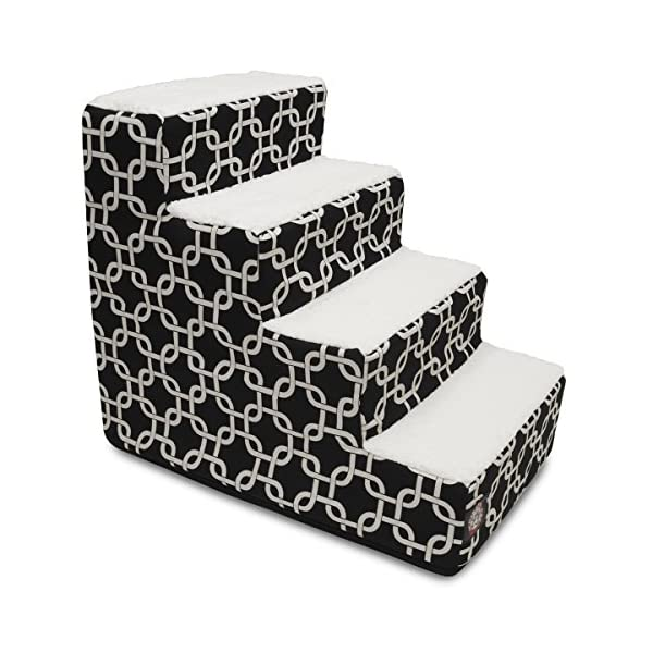 Majestic Pet Portable Pet Stairs   Soft Sherpa Foam Feeling Step   Steps for Dogs & Cats   Puppy & Kitty Ramp   Perfect for Bed & Sofa