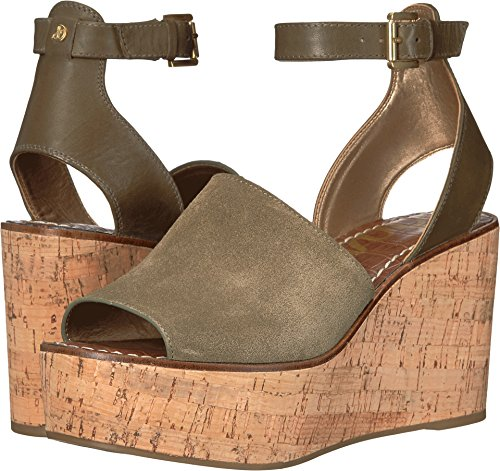 Sam Edelman Women's Devin Moss Green Velutto Suede Leather/Modena Calf Leather Sandal