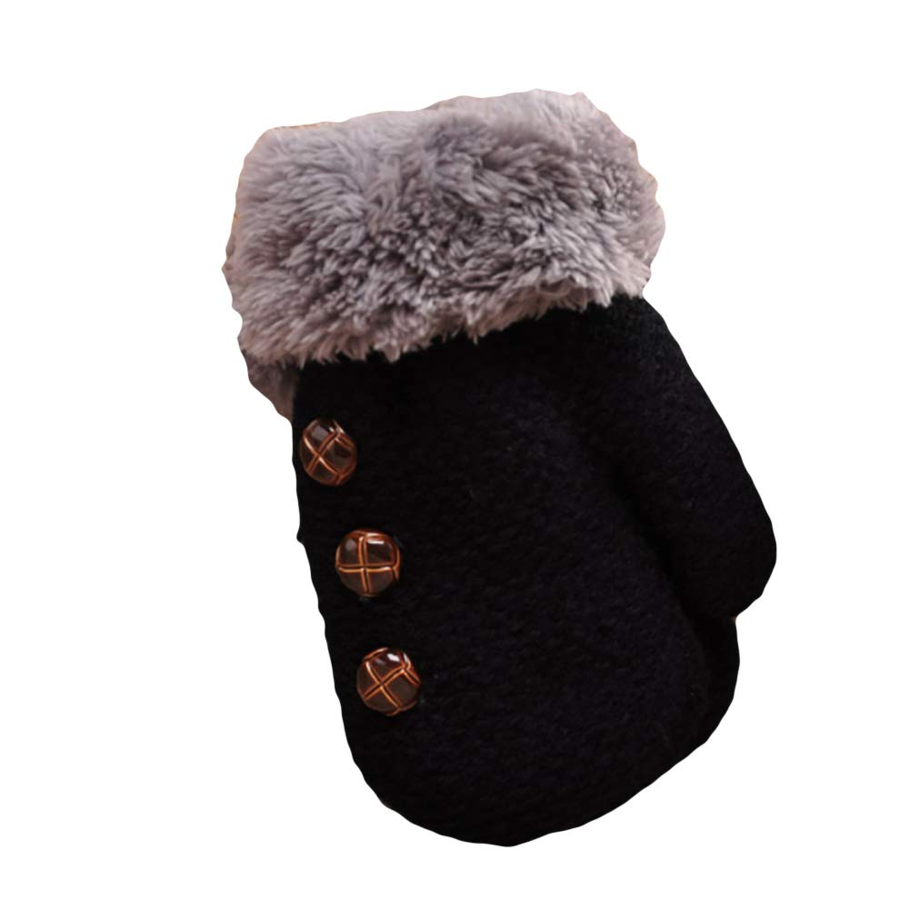 Grey eroute66 Winter Kids Boys Girls Gloves Full Finger Warm Soft Buttons Knitting Mittens